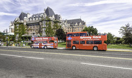 Touristic busses in Victoria Stock Photo