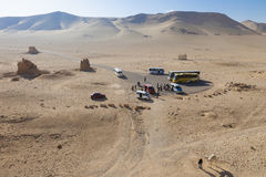 Touristic busstop - Palmyra. View on touristic busstop at end of road in sunny desert Stock Images