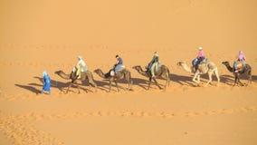 Touristic camel caravan in desert royalty free stock photography