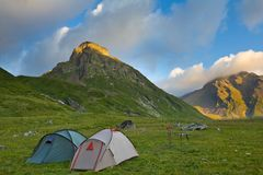 Touristic camp. At the early morning Stock Image