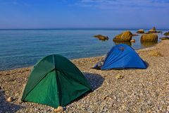 Touristic camp on a sea beach Stock Image