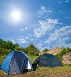 Touristic camp in a steppe Stock Images