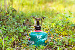 Touristic camping gas burner Stock Images
