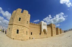 Touristic castle in La Goulette cruise terminal in Tunisia Royalty Free Stock Image