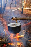 Touristic cauldron in a fire. Touristic cauldron on a fire in a forest camp Royalty Free Stock Image