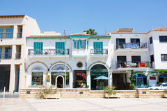 Touristic center of Larnaca numerous restaurants, cafes and shops. Church of Saint Lazarus square stock image