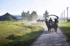 Touristic chaise in i den Hortobagy nationalparken, Ungern Det är Unesco-världsarv s arkivbild