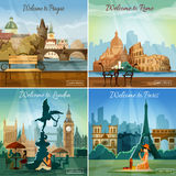 Touristic cities 4 flat icons composition. Vacation sightseeing worlds famous capitals tours travel 4 flat pictograms collection square banner abstract  vector Royalty Free Stock Photo