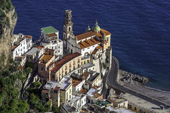 Touristic city of Atrani on the Italy's Amalfi Coast. Atrani view from high ground with the calm blue sea in the background Stock Photo