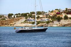 Touristic coast of Moraira with all type of Yachts and sailboats. Royalty Free Stock Photography