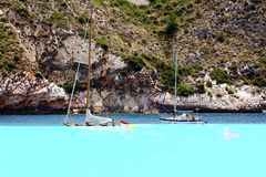 Touristic coast of Moraira with all type of Yachts and sailboats. Beautiful anchorage and sailing zone in the north coast of Alicante in Spain close to Moraira Stock Photo