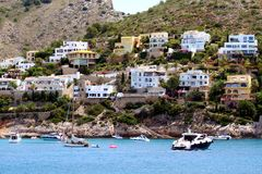 Touristic coast of Moraira with all type of Yachts and sailboats. Beautiful anchorage and sailing zone in the north coast of Alicante in Spain close to Moraira Stock Images