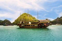 Touristic cruise at the Halong bay, Vietnam. UNESCO World Heritage stock photos
