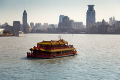 Touristic cruise in Shanghai, China Stock Photography