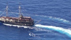 Touristic cruise ship in the Ionian Sea waters near Zakynthos island. ZAKYNTHOS, GREECE - SEPTEMBER 1, 2017: Touristic cruise ship in the Ionian Sea waters near stock video footage