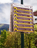 Touristic Directional Signs In Bursa, Turkey Royalty Free Stock Photos