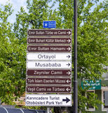 Touristic Directional Signs In Bursa, Turkey Stock Photo