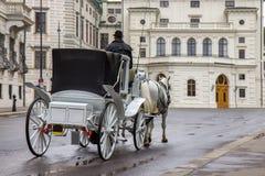 Touristic dragning för gammal vagn i Wien, Österrike royaltyfri foto