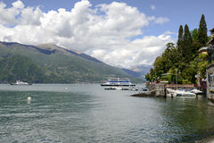 Touristic ferries at Varenna, Italy Stock Image