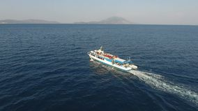 The touristic ferry Venus is traveling during summer. The touristic ferry Venus is traveling during the summer. It makes itineraries from Turkey to the Greek stock footage