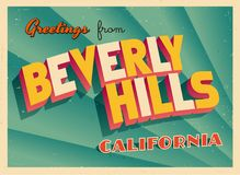Touristic hälsningkort för tappning från Beverly Hills, Kalifornien royaltyfri illustrationer