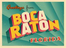 Touristic hälsningkort för tappning från Boca Raton, Florida Royaltyfri Fotografi