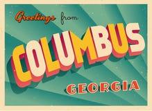 Touristic hälsningkort för tappning från Columbus, Georgia vektor illustrationer