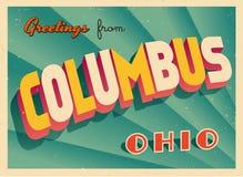 Touristic hälsningkort för tappning från Columbus, Ohio royaltyfri illustrationer