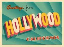 Touristic hälsningkort för tappning från Hollywood, Kalifornien stock illustrationer