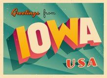 Touristic hälsningkort för tappning från Iowa stock illustrationer
