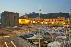 Acciaroli Touristic harbor at dusk Stock Photo