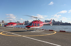 Touristic helicopters in New York, USA Stock Photo