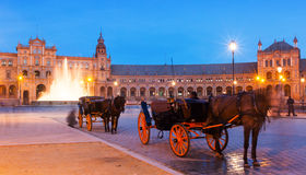 Touristic horse carriages at Plaza de Espana Royalty Free Stock Image