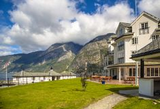 Touristic hotel in Eidfjord. Village Hordaland province Norway with mountain background Royalty Free Stock Photo