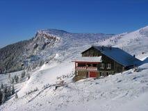 Touristic house Carpathian mountains winter season stock image