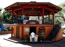 Touristic information post at the kiosk in Malinalco. Touristic information post at the central plaza kiosk in downtown Malinalco Stock Photo