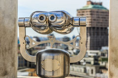 Touristic monocular for panorama city view Royalty Free Stock Images