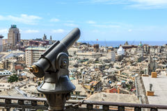 Touristic monocular for panorama. Sea and mountain view Stock Photography
