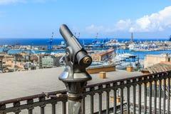Touristic monocular for panorama. Sea and mountain view Stock Photos