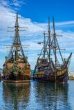 Touristic pirate ships. Two touristic pirate ships at quay by a sunny day Stock Images