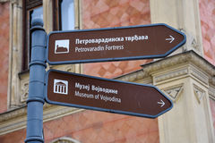 Touristic Places Sign in Novi Sad, Serbia Royalty Free Stock Image