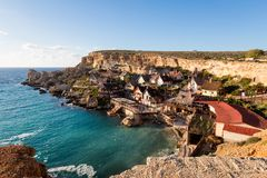 Popeye Village on Malta island. Touristic Popey Village on Malta island. Beautiful citycape and sea in south Europe Stock Images