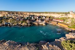 Popeye Village on Malta island. Touristic Popey Village on Malta island. Beautiful citycape and sea in south Europe Stock Image