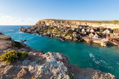 Popeye Village on Malta island. Touristic Popey Village on Malta island. Beautiful citycape and sea in south Europe Stock Photo