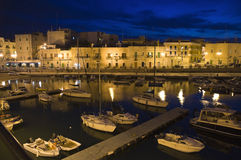 Touristic port by night. Giovinazzo. Stock Photo