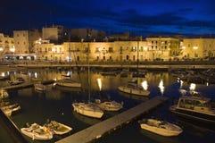 Touristic port by night. Giovinazzo. Stock Photo