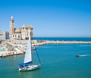 Touristic port of Trani. Apulia. Stock Image