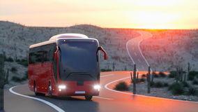 Touristic red bus on highway. Fast driving. realistic 3d rendering. Royalty Free Stock Image