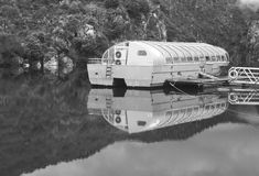 Touristic river barge with transparent all weather roof ceiling Royalty Free Stock Photos