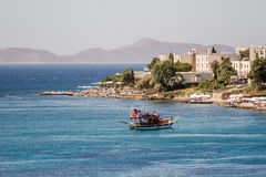 Touristic Sail Boat Near the Beach of Akyarlar, Bodrum Royalty Free Stock Image